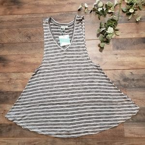NWT Umgee Gray and White Striped Sleeveles Top